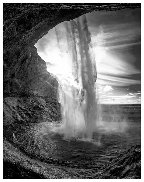 Behind the Falls    Black and White Photography by Wayne Heim