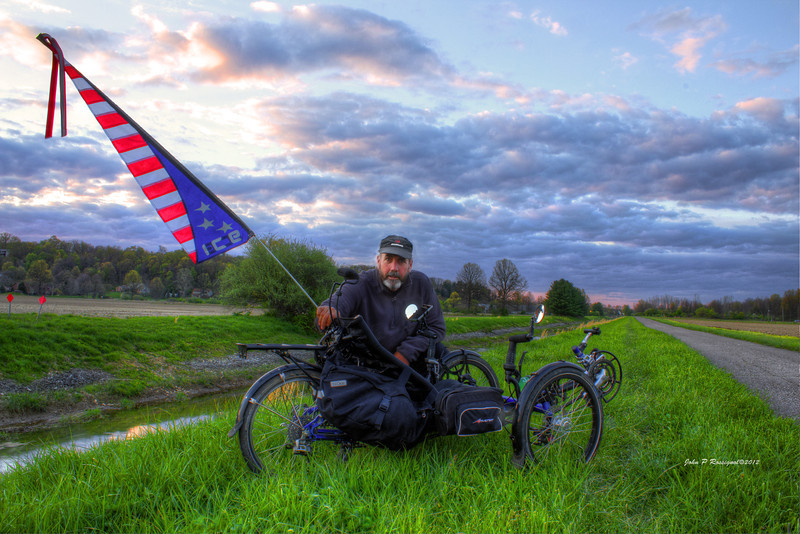 With my ICE Adventure RS recumbent trike on the north extension of the Licking County Bike Trail in Newark OH.