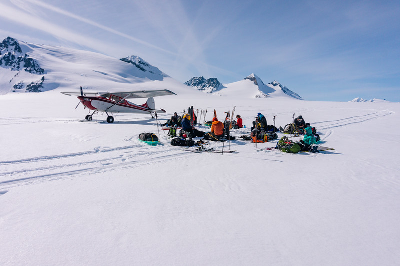 Jacek Maselko's plane stands by while we have a snack break.