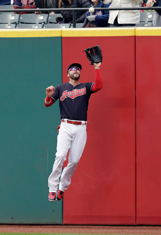 . Cleveland Indians\' Tyler Naquin catches a ball hit by Seattle Mariners\' Kyle Seager in the sixth inning of a baseball game, Saturday, April 28, 2018, in Cleveland. Seager was out on the play. (AP Photo/Tony Dejak)