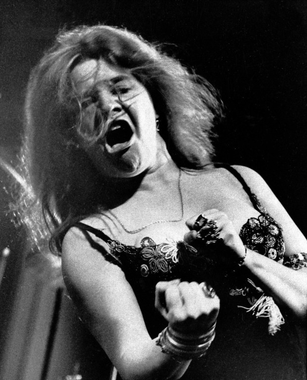 . In this  July 29, 1968 file photo, singer Janis Joplin performs at the Newport Folk Festival with her band Big Brother and the Holding Company.   (AP Photo, File)
