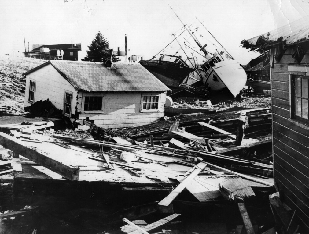 . 4th April 1964:  The small fishing village on Kodiak Island, in Alaska, littered with debris from houses and boats after an earthquake and tidal wave struck the island.  (Photo by Central Press/Getty Images)