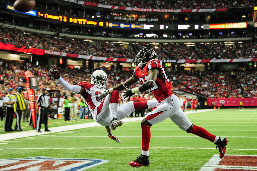 . ATLANTA, GA - NOVEMBER 30: Jerraud Powers #25 of the Arizona Cardinals breaks up a pass intended for Harry Douglas #83 of the Atlanta Falcons during the first half at the Georgia Dome on November 30, 2014 in Atlanta, Georgia.  (Photo by Scott Cunningham/Getty Images) ***BESTPIX***
