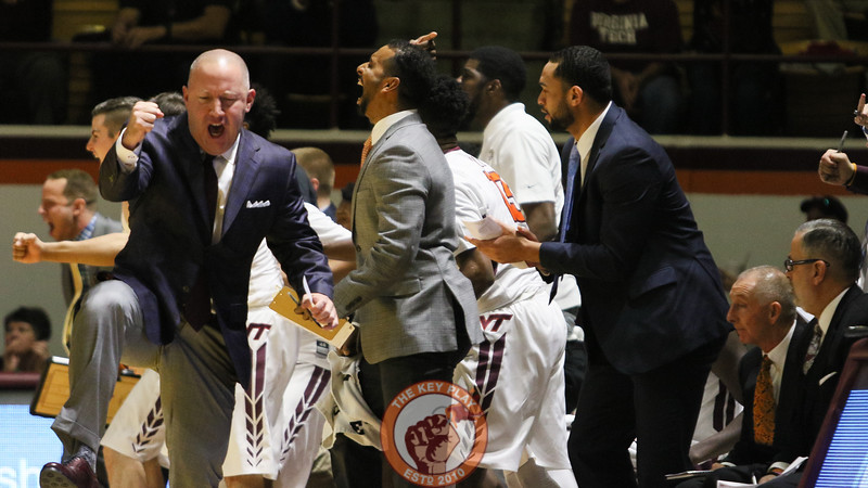 Head coach Buzz Williams celebrates a defensive stop. (Mark Umansky/TheKeyPlay.com)