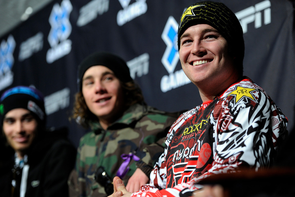 . Snowmobile Freestyle Caleb Moore smiles during the opening Winter X Games 2012 press conference at Buttermilk Mountain in Aspen on Wednesday, January 25. AAron Ontiveroz, The Denver Post
