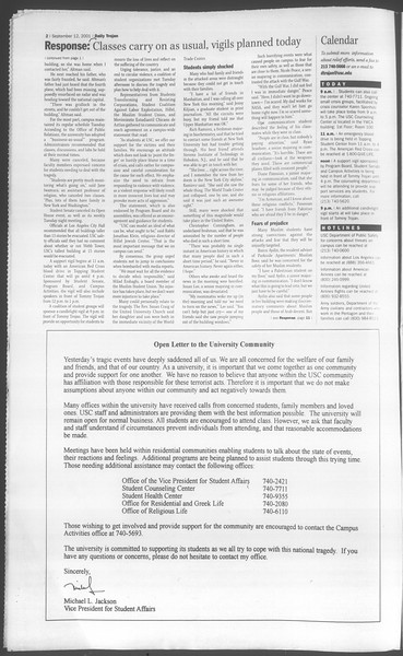 Daily Trojan, Vol. 144, No. 10, September 12, 2001
