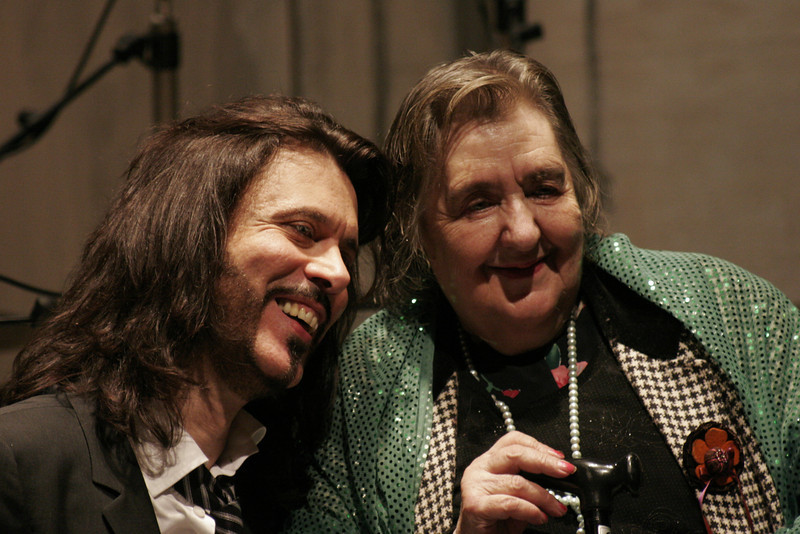 "Alda Merini and Giovanni Nuti, presentation of the album ""Rasoi di Seta"" at the Streheler Theater, Milan, Italy, 2007"