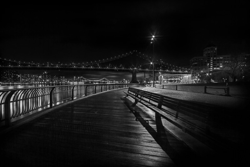 Down Under the Manhattan Bridge - B&W
