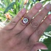 3.12ct Old European Cut Diamond Ruby Halo Ring, GIA L  3