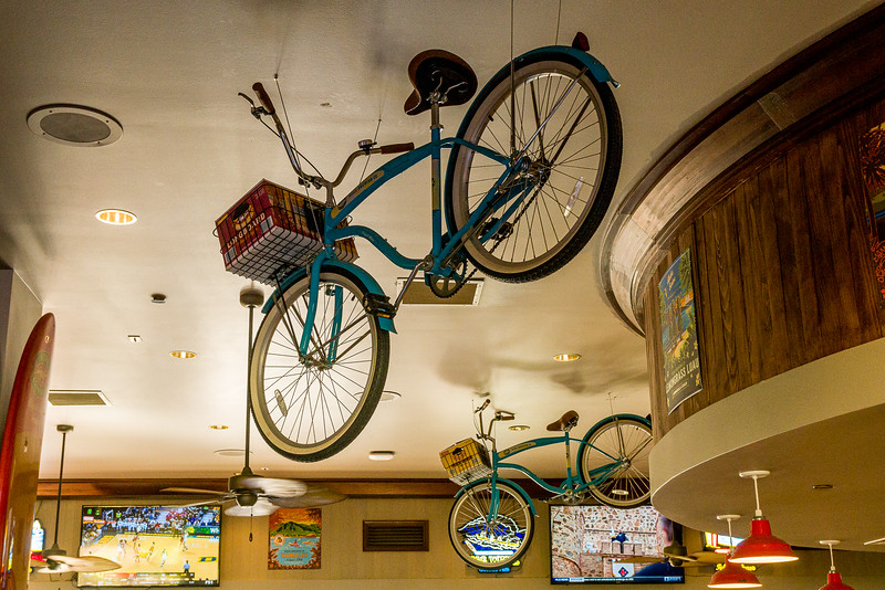 Looking toward the ceiling of a restaurant at the Waikoloa Hilton #bikes #bike #restaurant #waikoloahilton #hawaii
