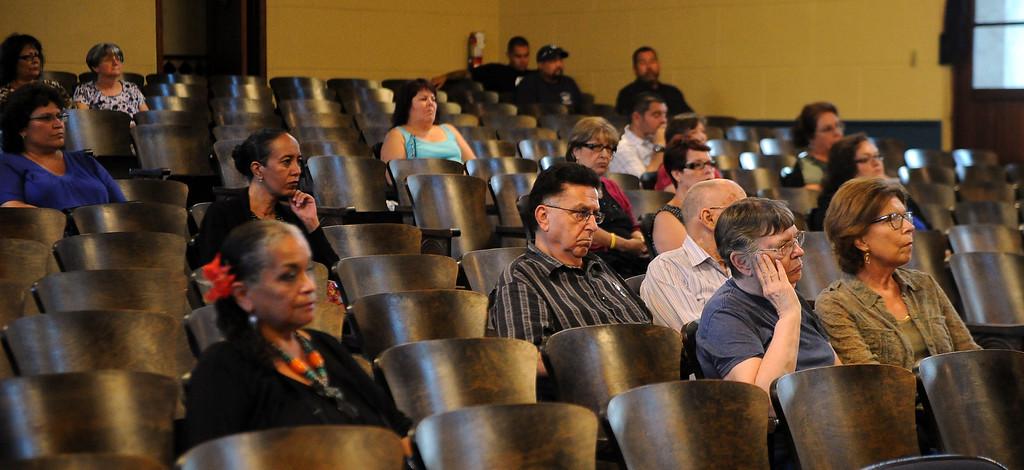 . Locals listen during a Azusa Unified School District candidate forum at Azusa Civic Auditorium on Tuesday, Aug. 13, 2013 in Azusa, Calif.   (Keith Birmingham/Pasadena Star-News)