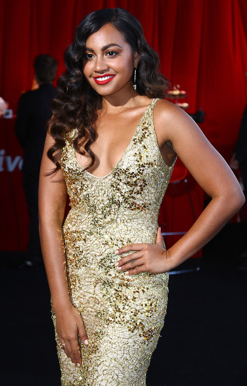 . Australian R & B singer Jessica Mauboy arrives for the Australian music industry Aria Awards in Sydney, Thursday, Nov. 29, 2012. (AP Photo/Rick Rycroft)