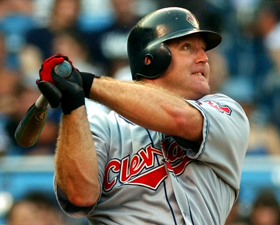 . Cleveland Indians\' Jim Thome watches his two-run home run in the first inning off New York Yankees pitcher Roger Clemens Tuesday night, July 2, 2002 at Yankee Stadium in New York.  Thome has homered in six straight game, setting a Cleveland record. (AP Photo/Bill Kostroun)