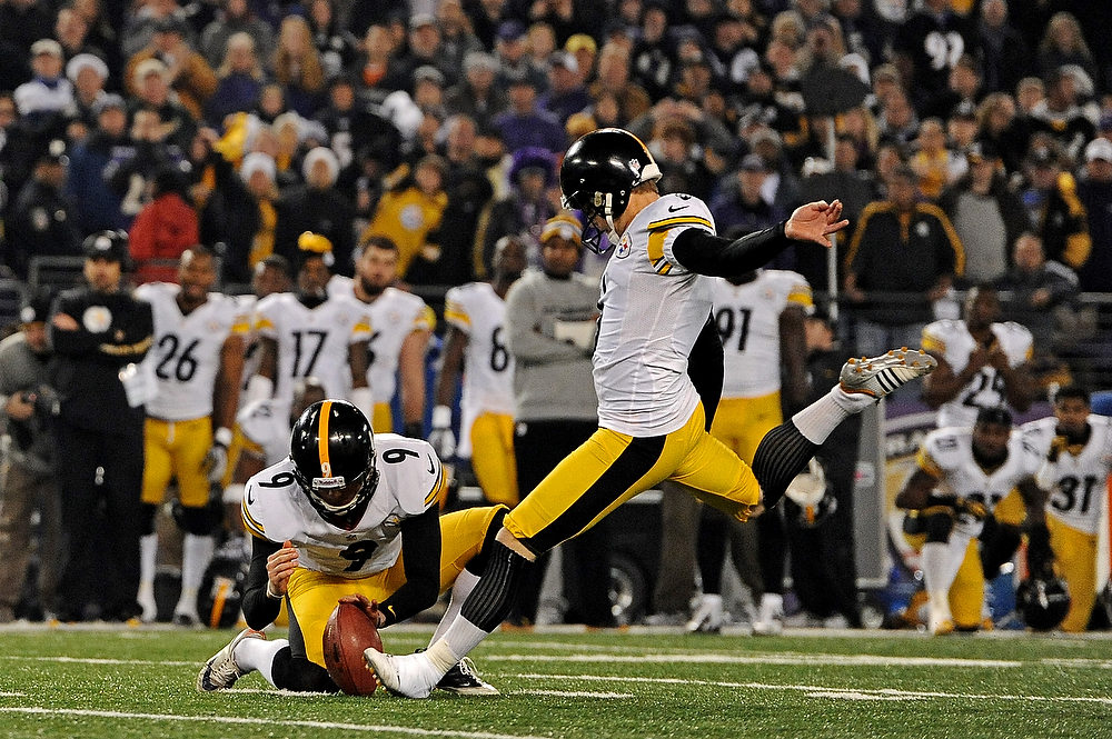 Description of . Place kicker Shaun Suisham #6 of the Pittsburgh Steelers kicks the game-winning field goal as time expires in the fourth quarter against the Baltimore Ravens at M&T Bank Stadium on December 2, 2012 in Baltimore, Maryland. The Pittsburgh Steelers won, 23-20. (Photo by Patrick Smith/Getty Images)