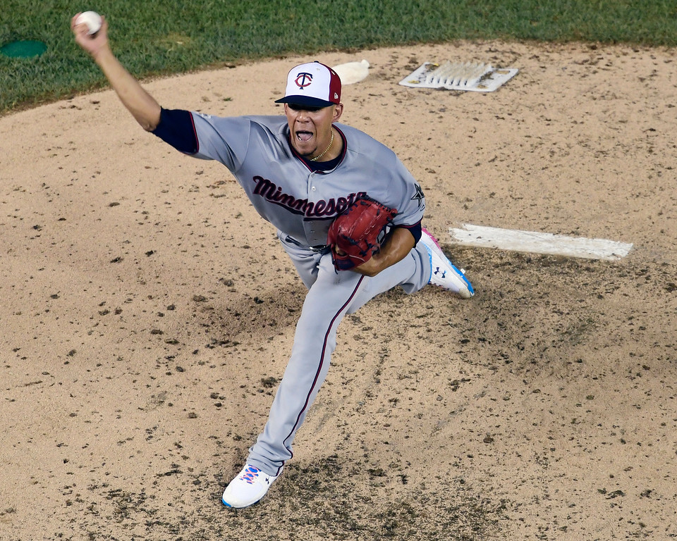 . Minnesota Twins pitcher Jose Berrios (17) works during the fifth inning at the Major League Baseball All-star Game, Tuesday, July 17, 2018 in Washington. (AP Photo/Susan Walsh)