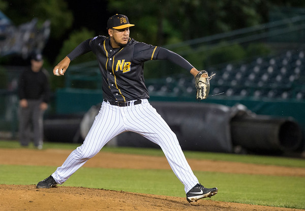 09/06/19 Wesley Bunnell | StaffrrThe New Britain Bees vs the Lancaster Barnstormers on Friday night at New Britain Stadium. Rainy Lara (14).