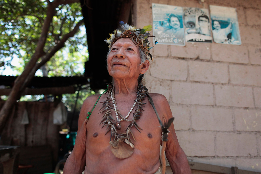 . An indigenous man stands in front of his house at the indigenous community of Monimbo in Masaya City, about 24 km (15 miles) south of Managua, April 9, 2013. Indigenous representatives from Bolivia, Chile, Colombia, Ecuador, Guatemala, Honduras, Mexico, Nicaragua, Panama, Peru and Venezuela will analyze the food security of their peoples during the 13th ordinary session of the Indigenous Parliament of America (PIA) held in the city of Managua. REUTERS/Oswaldo Rivas