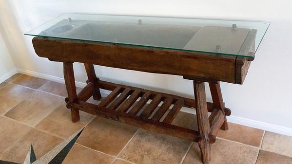 Rustic Teak Side Table w/Glass Top W x D x H: 47' x 16' x 31.5'