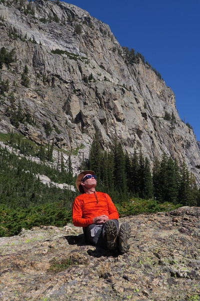 Jim prepares for the total eclipse of the sun in South Cascade Canyon