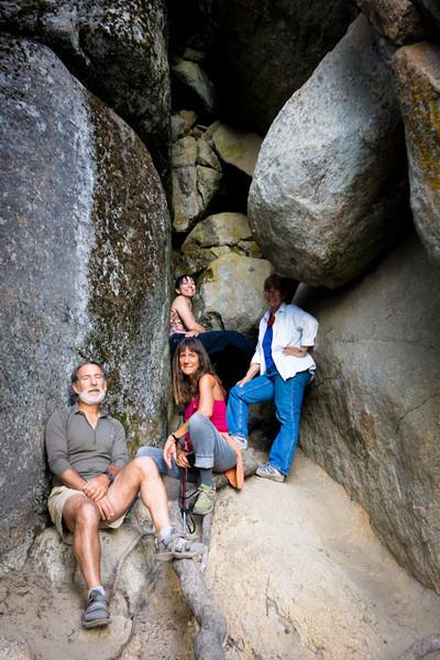 Posing in a nice crag with an amazing view:  Larry, Diane, Danita, LaRhee