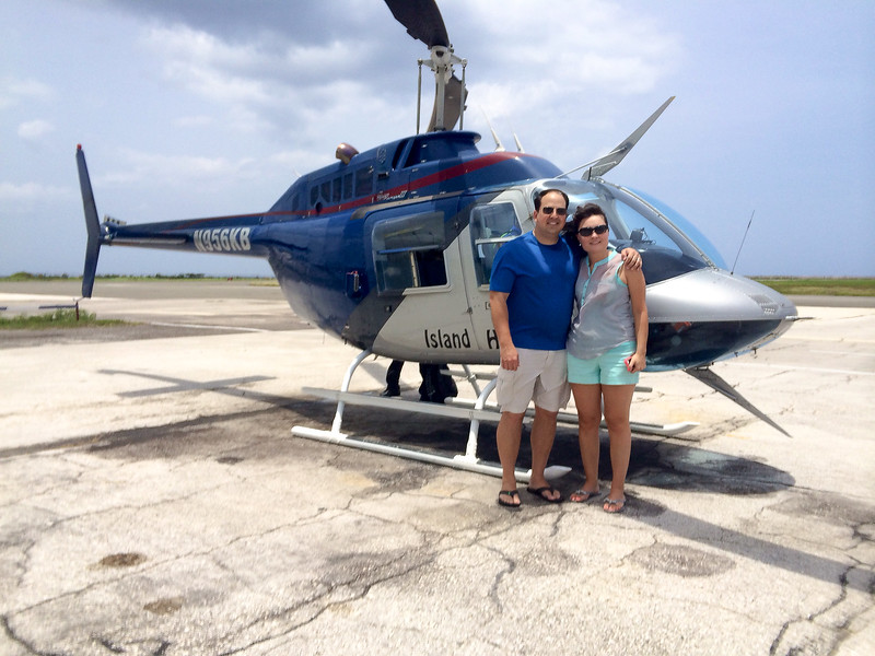 Waiting to take off from Sangster Intl Airport in the Island Hoppers helicopter transfer.