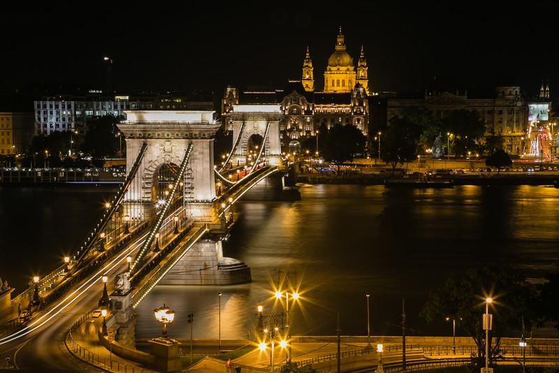 Chain bridge at night in Budapest, Hungary
