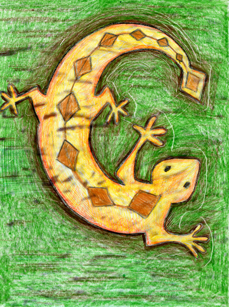 At some point we decided that our family pets needed to be included. Here is one of our lizards, modeled after the Southwest Indian art of our New Mexican past (and several bits of pottery in our house). Done in colored pencil.