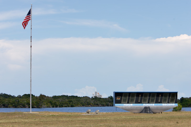 Tuesday, April 26 - The Launch Complex 39 Press Site Countdown Clock and Flag Pole date back to the Apollo program and are a registered US National Historic Site.