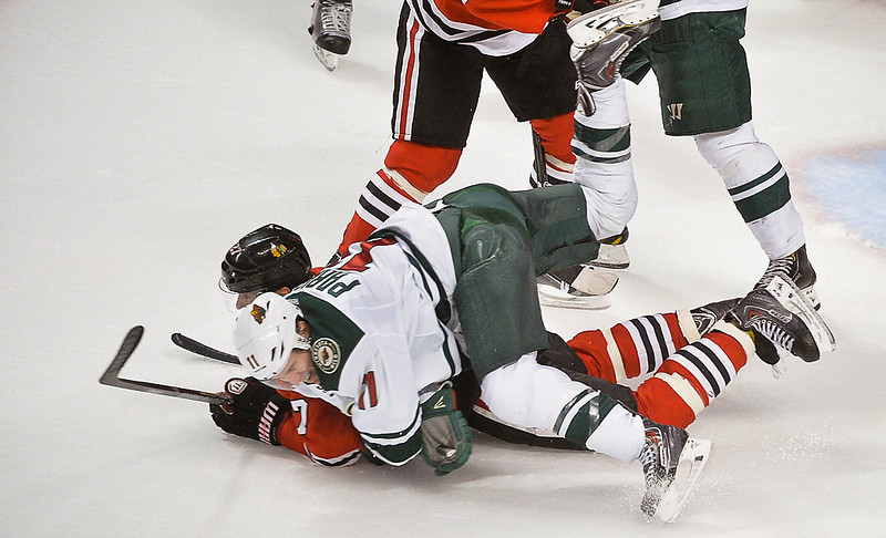 . Minnesota Wild left wing Zach Parise hits the ice during the third period. (Pioneer Press: Ben Garvin)