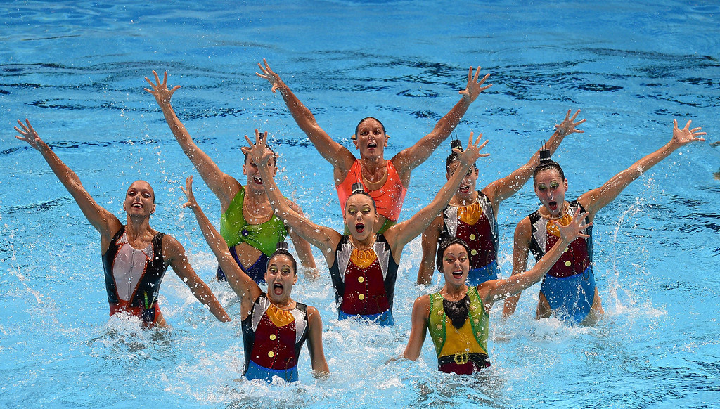 . Italy\'s synchronised swimming team compete in the team free combination preliminary round during the synchronised swimming competition in the FINA World Championships at the Palau Sant Jordi in Barcelona, on July 21, 2013.     JAVIER SORIANO/AFP/Getty Images