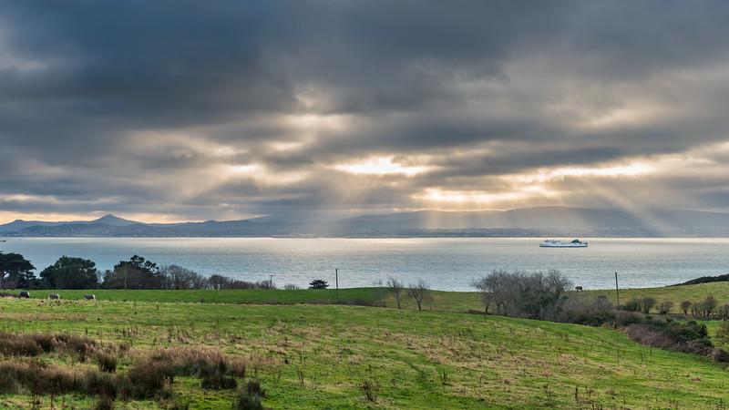Ship on Dublin Bay. #seascape, #DublinBay, #clouds, #SunRays