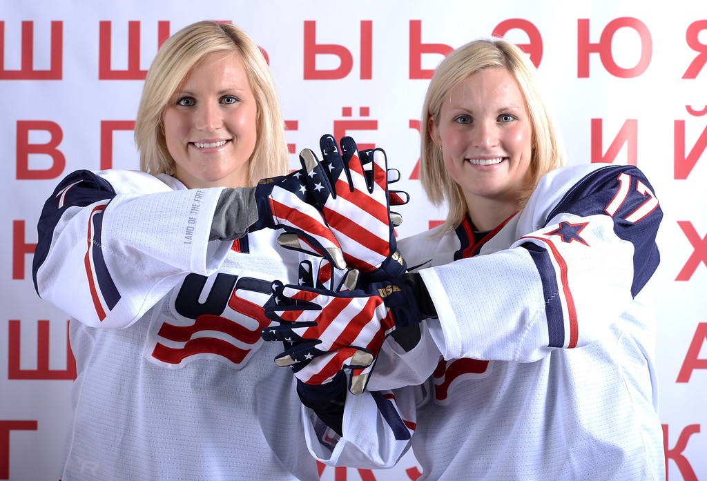 . Ice Hockey players Monique Lamoureux (L) and Jocelyne Lamoureux pose for a portrait during the USOC Media Summit ahead of the Sochi 2014 Winter Olympics on October 2, 2013 in Park City, Utah.  (Photo by Harry How/Getty Images)