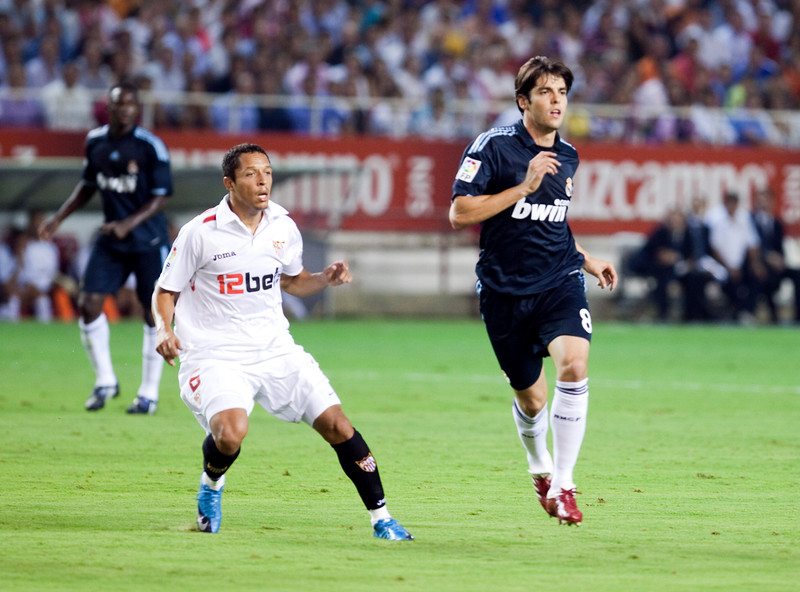 Adriano and Kaka. Spanish League game between Sevilla FC and Real Madrid, Sanchez Pizjuan Stadium, Seville, Spain, 4 October 2009