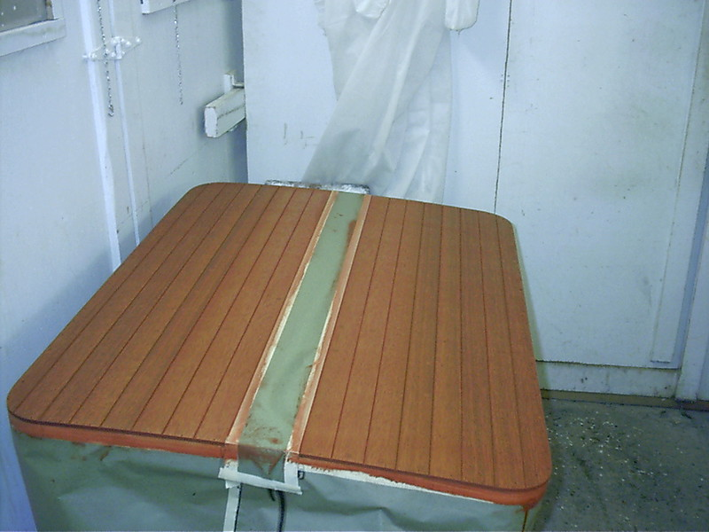 Engine hatch cover stained.