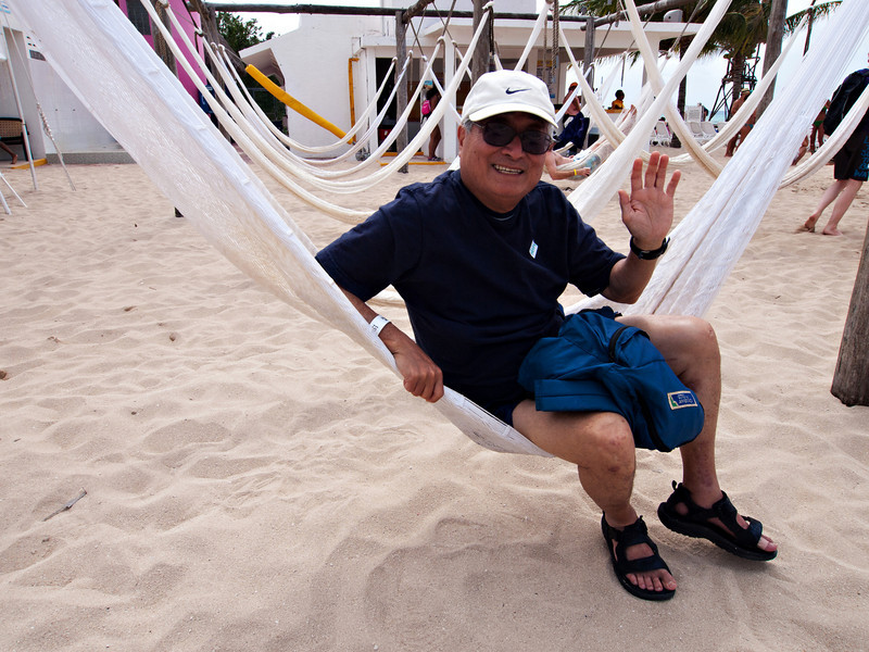 Dad at the beach in Cozumel