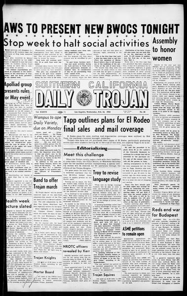 Daily Trojan, Vol. 36, No. 68, February 14, 1945