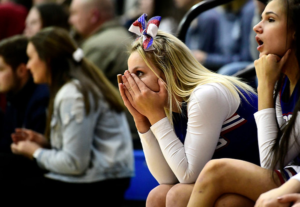 3/8/2019 Mike Orazzi   Staff St. Paul Catholic High School cheerleaders during the Class S Semifinal girls basketball at Newtown High School Friday night in Newtown.