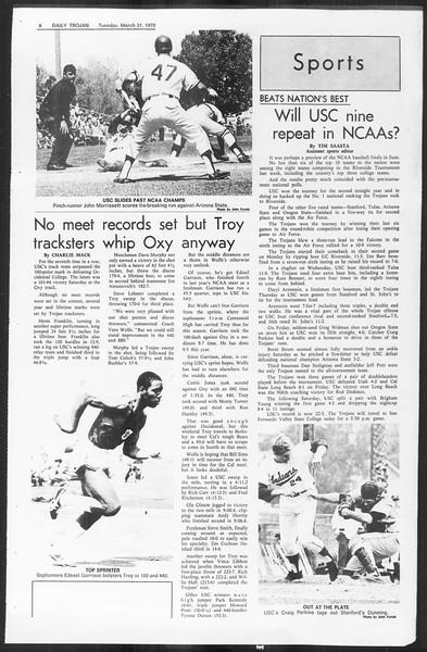 Daily Trojan, Vol. 61, No. 96, March 31, 1970