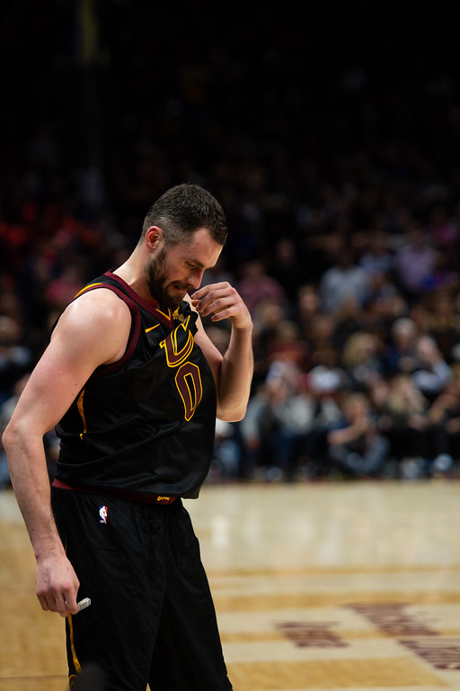 . Kyle Love of the Cleveland Cavaliers shows his frustration during game 3 of the NBA Finals in Cleveland on June 6, 2018.