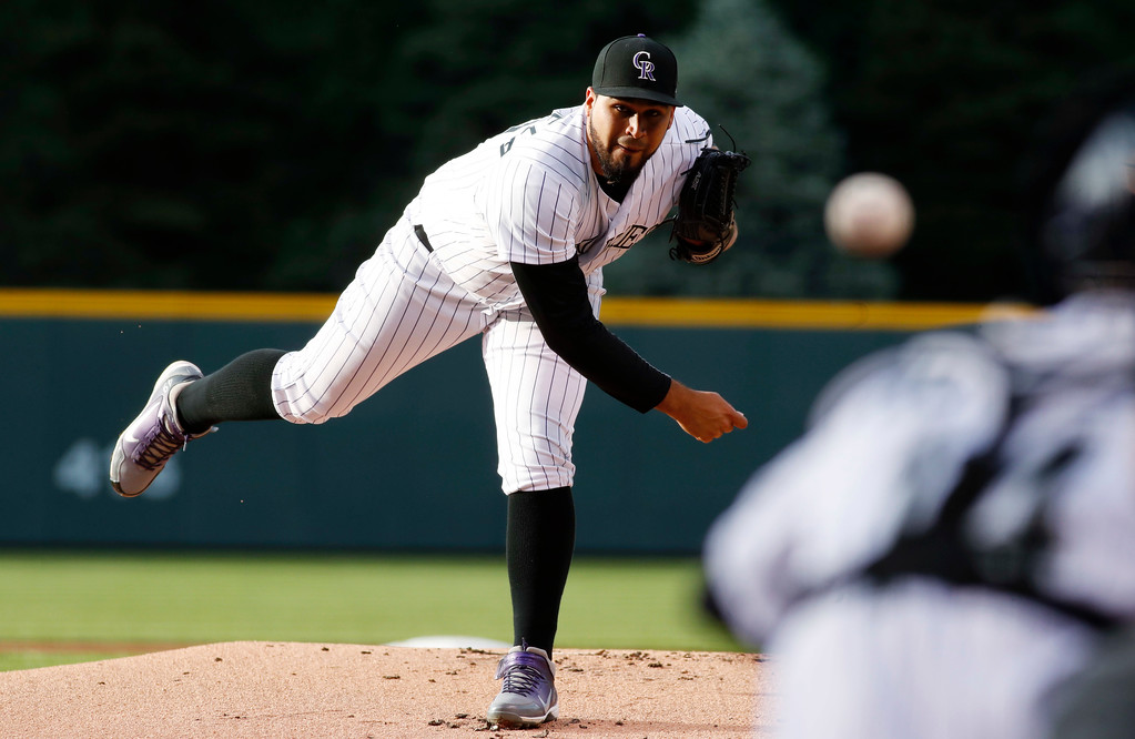 . Colorado Rockies starting pitcher Antonio Senzatela delivers a pitch to Cleveland Indians\' Jason Kipnis in the first inning of an interleague baseball game Tuesday, June 6, 2017, in Denver.(AP Photo/David Zalubowski)