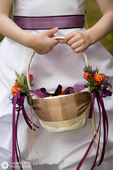 Purple flower girl basket