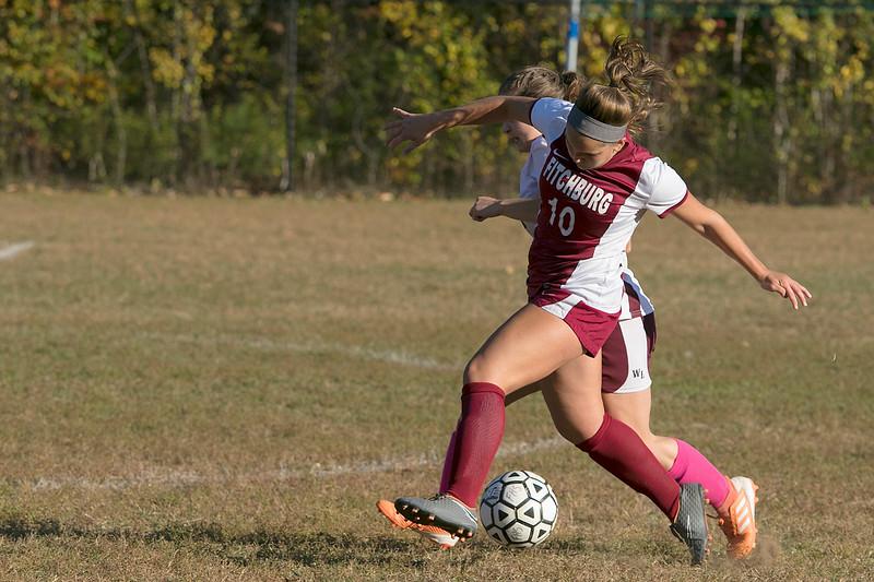 Fitchburg High School girls soccer played Ayer Shirley Regional High School on Tuesday, Oct. 15, 2019 in Fitchburg. FHS's #10 Elle Scott. SENTINEL & ENTERPRISE/JOHN LOVE