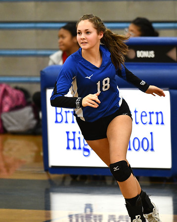 11/1/2019 Mike Orazzi | StaffrBristol Eastern's Leah Chipman (18) during Friday night's girls volleyball match with Lyman Memorial in Bristol.