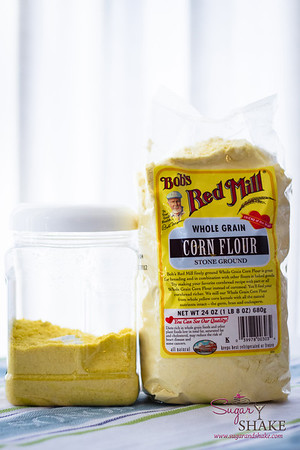 The uncommon ingredients for Corn Cookies: freeze-dried corn (the same container, just ground into powder) and corn flour. © 2013 Sugar + Shake