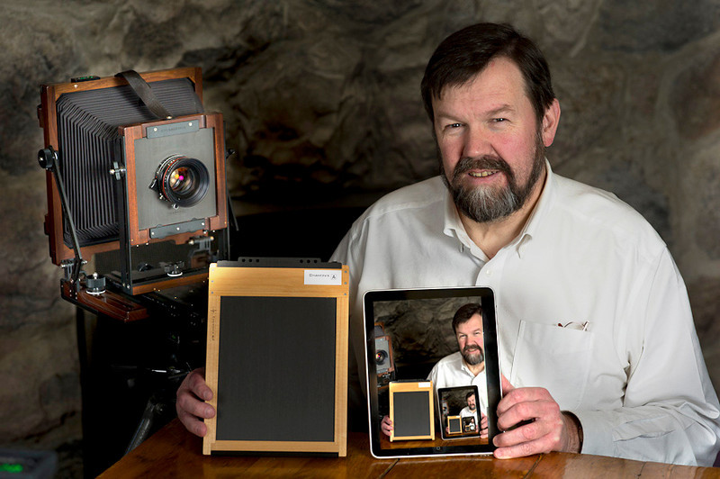 Ctein's Tablet-Based View Camera versus Johnston's fullplate single use camera film holder.