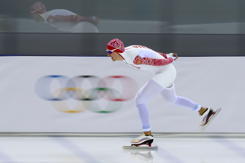 . Russia\'s Denis Yuskov competes in the Men\'s Speed Skating 5000m at the Adler Arena during the 2014 Sochi Winter Olympics on February 8, 2014.  (DAMIEN MEYER/AFP/Getty Images)