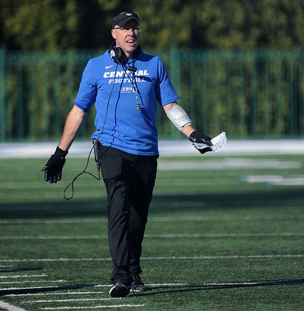 11/16/2019 Mike Orazzi | StaffrCentral Connecticut State University Head Football Coach Ryan McCarthy during Saturday's football game with Robert Morris University in New Britain.