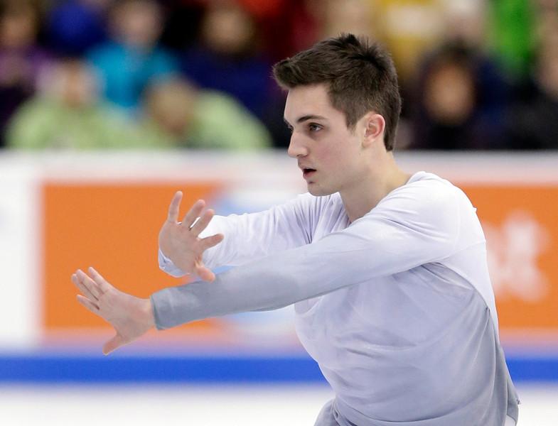. Joshua Farris competes during the men\'s free skate at the U.S. Figure Skating Championships Sunday, Jan. 12, 2014 in Boston. (AP Photo/Steven Senne)