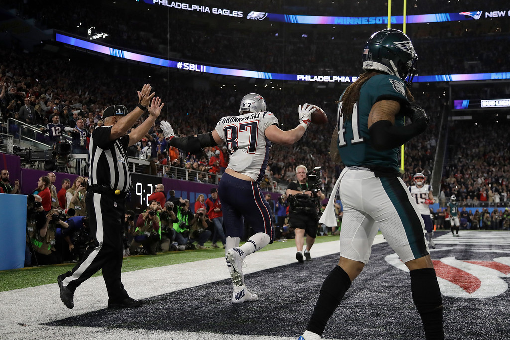 . New England Patriots\' Rob Gronkowski (87) celebrates after scoring a touchdown against the Philadelphia Eagles during the second half of the NFL Super Bowl 52 football game Sunday, Feb. 4, 2018, in Minneapolis. (AP Photo/Matt Slocum)
