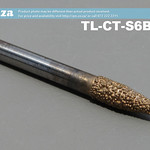 SKU: TL-CT-S6B3-20, 6mm Tapered Ball Nose (3mm) Marble Stone Router Bit with 20mm Coarse Grit, Full Length ⩾60mm